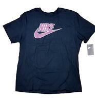 Nike Tee Athletic Cut Men's 100% COTTON SWOOSH LOGO BLACK T SHIRT L XL 2XL 3XL