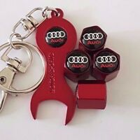 AUDI RED DUST VALVE CAPS WITH RED SPANNER/KEYCHAIN FOR ALL MODELS ALL COLOURS
