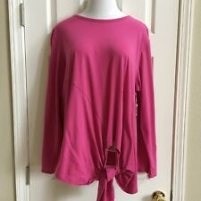 Caslon Womens Pink With Tie Front Long Sleeve Size XL NWT A053