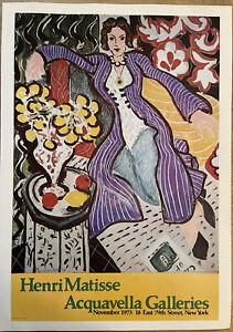 Henri Matisse exhibition Acquavella galleries Authorised Vintage Poster 1973