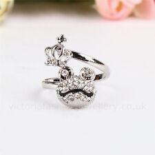 Diamante Rana Princesa anillo, tono plata, Pulgar / Bata Anillo. Ajustable Sapo Regalo