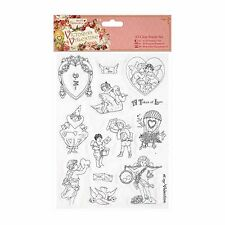 14Pc A5 Papermania Victorian Valentine Clear Rubber Stamp Set Hearts etc | C19