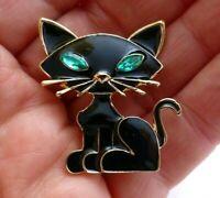 Cartoon cat brooch black enamel green crystal rhinestone vintage style pin