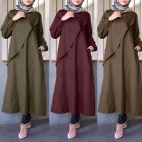 ZANZEA UK Womens Puff Sleeve O Neck Abaya Muslim Casual Loose Kaftan Baggy Dress