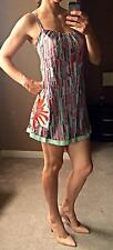 Marciano Guess Print Dress Sleeveless Blue Floral Slip MOD Silk Embroidery XS/S