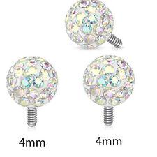 3 Pc 14G 4mm Clear Epoxy Aurora Borealis Ferido Ball Dermal Anchors Top Heads