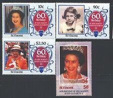 ST. VINCENT Sc923-26 SG978-81 MNH 1986 QEII 60th Birthday set of 4 SCV$7
