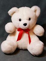 """1992 Aurora World Soft A & A Plush White Sitting Teddy Bear Stuffed Animal 9"""""""