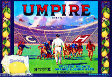 Claremont California Football Umpire Lemon Citrus Fruit Crate Label Art Print