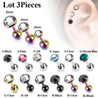 Lot 3pcs CZ Steel Tragus Helix Cartilage Upper Ear Piercing Bar Studs Earring