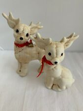 Vintage Reindeer Beige Cream Christmas Decorations Ceramics Red Bow And Bell