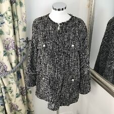 Zara Size M 12 14 black boucle designer inspired silver buttoned loose boxy coat