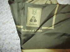 BURBERRYS OF LONDON VINTAGE OLIVE GREEN & GOLD LOGO SILK SCARF RARE & BEAUTIFUL!