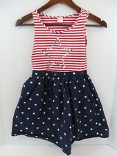 Gymboree Patriotic July 4th Dress Sleeveless Elastic Waist Sequin Star 8  #7181