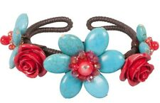 NEW Dyed Howlite Imitation Turquoise Flower Red Rose Adjustable Cuff Bracelet