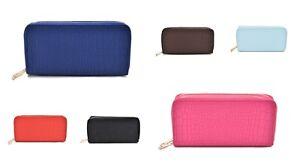 Women's Crocodile Imitation Double Zip around Purse Wallet LBQ465