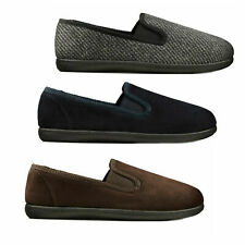 MENS CLARKS 'KING TWIN' SLIPPER IN BROWN, GREY AND NAVY