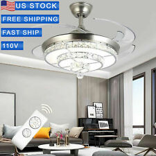 """42"""" Crystal Invisible Ceiling Fan Light Living Room Fixture+Remote Chandelier Us"""