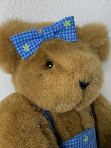 Vermont Teddy Bear Company Made USA Brown Plush Jointed With Blue Floral Dress