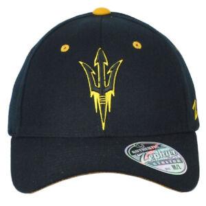 NCAA Zephyr Arizona State Sun Devils Black Flex Fit Stretch Medium Large Hat Cap