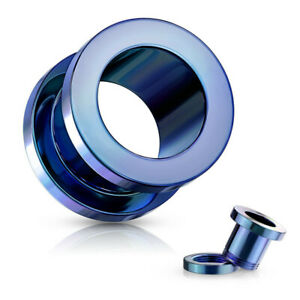 PAIR PVD Titanium Plated Screw Fit Tunnels Steel Plugs Earlets Earrings Gauges