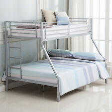 Sliver Metal Twin over Full Metal Bunk Beds Ladder Kids Teens Adult Dorm Bedroom