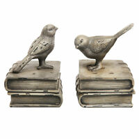 Vintage Style Decorative Birds & Books Design Ceramic Bookshelf Bookends