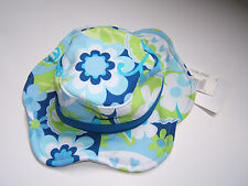 NEW 0/3 months Baby Girls Sun/Swim Hat White/Blue/Green Floral NB NWT