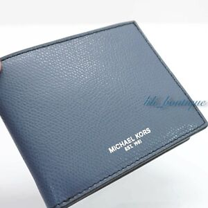 Michael Kors Men Warren Slim Billfold Wallet Leather Vintage Indigo Blue No Box