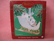 2002 Heirloom Collection Ornament First Christmas Together Porcelain Sleigh NIB