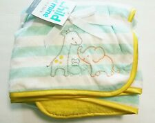 NEW Child Mine Carters Giraffe&Elephant Yellow&Mint Sherpa Fleece/Valboa Blanket