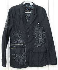 Men's Black jacket with gray embroidery by Triple Five Street Soul, large