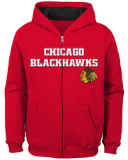 Chicago Blackhawks Boys Red Prime Long Sleeve Full Zip Hooded Sweatshirt