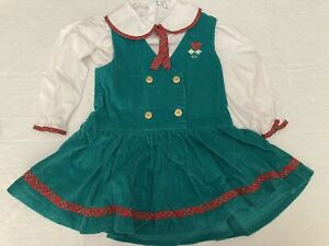 3T Green corduroy Toddler Dress With Red Plaid Accents