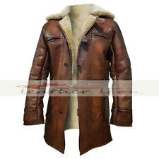 Dark Knight Rises Bane  Shearling Genuine Leather Trench Coat / Jacket