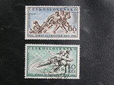 TIMBRES DE TCHECOSLOVAQUIE : 1960 YVERT N° 1066 / 1067 Oblitéré - THEME JO HIVER