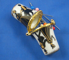 PORCELAIN  THIMBLE  NEEDLE CASE --  BLACK AND GOLD SILHOUETTE