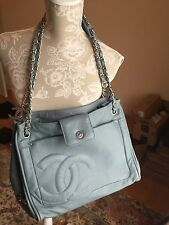 Authentic CHANEL Large Tote Bag Blue Leather