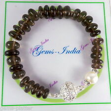 "142+ Carat Smoky Pearl Bracelet 8"" Christmas Gift ~Silver Carved Magnetic Lock"