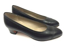 Vintage Salvatore Ferragamo Women's 4.5B Heels Black Df50537 340Ra