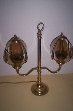 vintage brass lamp twin arm candelabra style glass shades 99p no reserve