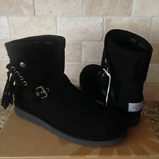 UGG LUXE COLLECTION KARISA NERO BLACK SUEDE SHEARLING FRINGE BOOTS US 10 WOMENS