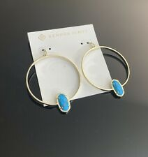 Kendra Scott gold tone Turquoise hoop earrings NWT