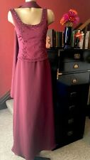Michelangelo Dress Formal Size 4 Corset Back Burgundy Beaded Homecoming Dance