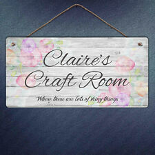 Personalised Craft Room Plaque-Custom Flowers Gift Crafty Metal Sign