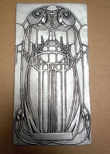 Art nouveau wall plaque, Mackintosh style silver /pewter effect