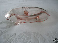 LOVELY VINTAGE PINK DEPRESSION GLASS 3-FOOTED CANDY DISH-EXCELLENT-DROP EDGE