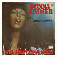 """Donna SUMMER Vinyl 45T 7"""" TRY ME, I KNOW, WE CAN MAKE IT -WASTED -ATLANTIC 10794"""