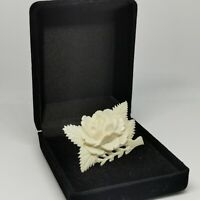 Vintage Cream Carved Floral Leaf Brooch Celluloid Resin? Pin
