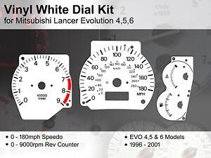 Mitsubishi EVO 4,5,6 (1996 - 2001) - 180mph / 9000rpm - Vinyl White Dial Kit